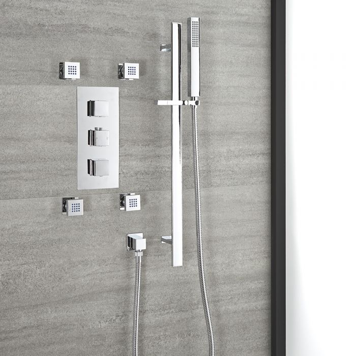 Milano Arvo - Chrome Thermostatic Shower with Riser Rail, Hand Shower and Body Jets (2 Outlet)