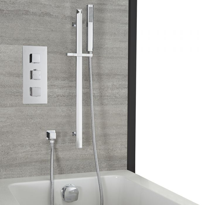 Milano Arvo - Chrome Thermostatic Shower with Overflow Bath Filler and Riser Rail with Hand Shower (2 Outlet)