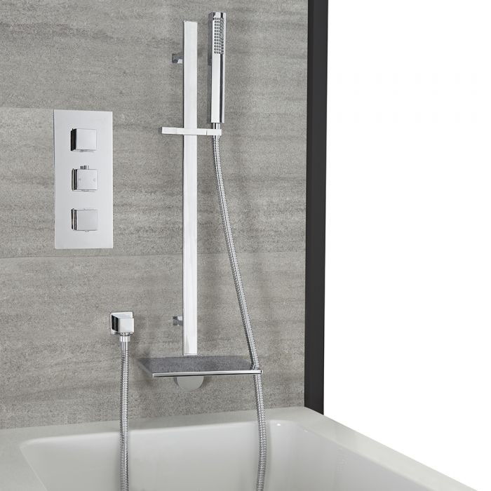 Milano Arvo - Chrome Thermostatic Shower with Waterfall Bath Filler and Riser Rail with Hand Shower (2 Outlet)
