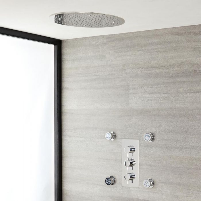 Milano Mirage - Chrome Thermostatic Shower with Recessed Shower Head and Body Jets (2 Outlet)