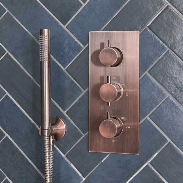 Milano Amara - Modern 2 Outlet Triple Thermostatic Shower Valve - Brushed Copper