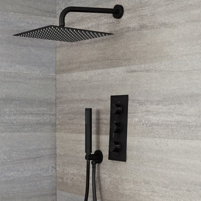 Milano Nero - Black Thermostatic Shower with Square Shower Head and Hand Shower (2 Outlet)