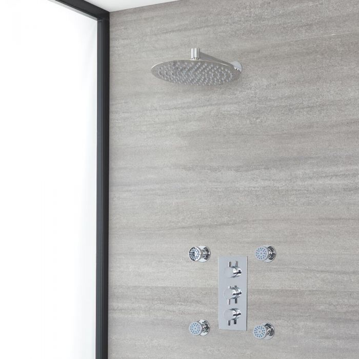 Milano Mirage - Chrome Thermostatic Shower with Shower Head and Body Jets (2 Outlet)