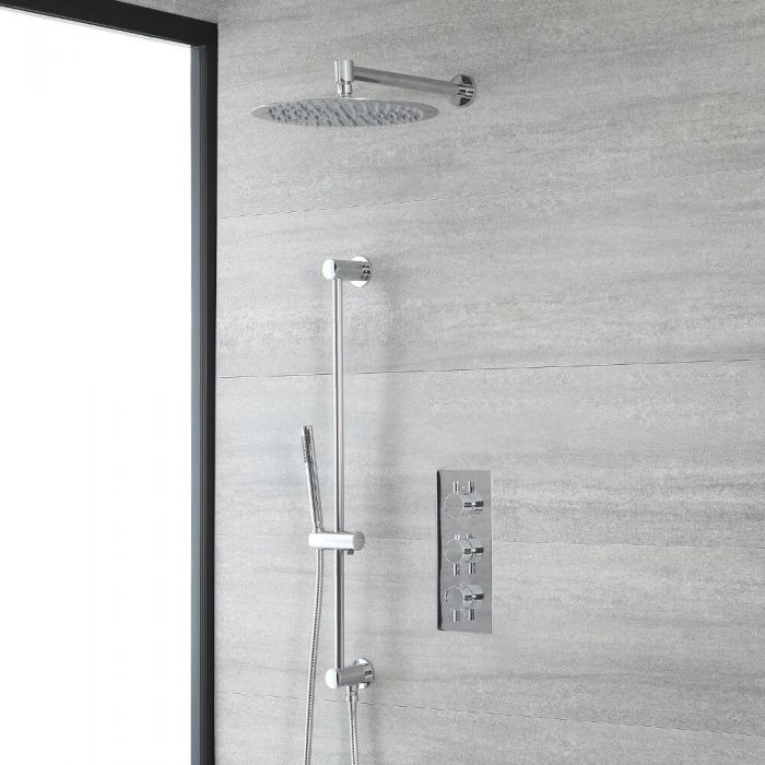 Milano Mirage - Chrome Thermostatic Shower with Wall Mounted Shower Head, Hand Shower and Riser Rail (2 Outlet)