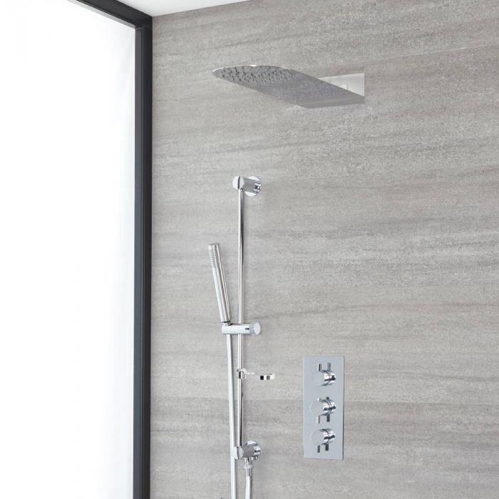 Milano Mirage - Chrome Thermostatic Shower with Slim Shower Head, Hand Shower and Riser Rail (2 Outlet)