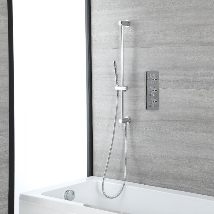 Milano Mirage - Chrome Thermostatic Shower with Hand Shower, Bath Filler and Riser Rail (2 Outlet)
