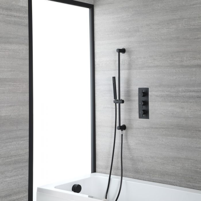 Milano Nero - Black Thermostatic Shower with Overflow Bath Filler and Riser Rail with Hand Shower (2 Outlet)