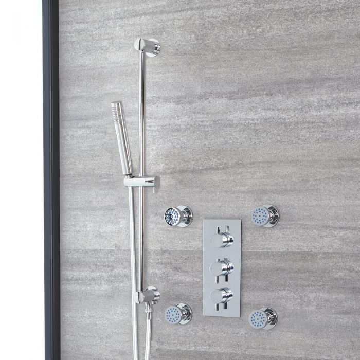 Milano Mirage - Chrome Thermostatic Shower with Hand Shower and Body Jets (2 Outlet)