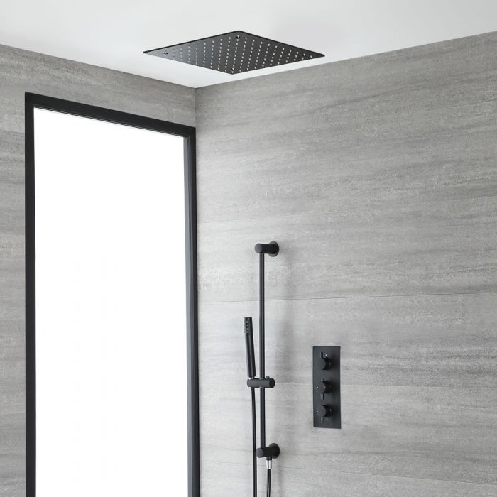 Milano Nero - Black Thermostatic Shower with Recessed Shower Head and Riser Rail with Hand Shower (2 Outlet)