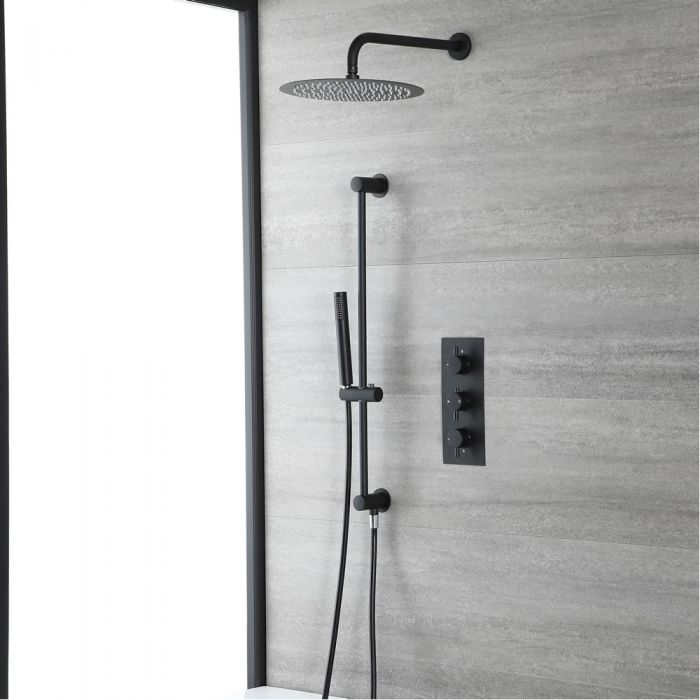 Milano Nero - Black Thermostatic Shower with Shower Head and Riser Rail with Hand Shower (2 Outlet)
