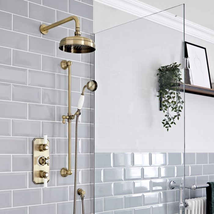 Milano Elizabeth - Brushed Gold Traditional Thermostatic Shower with Riser Rail and Shower Head (2 Outlet)