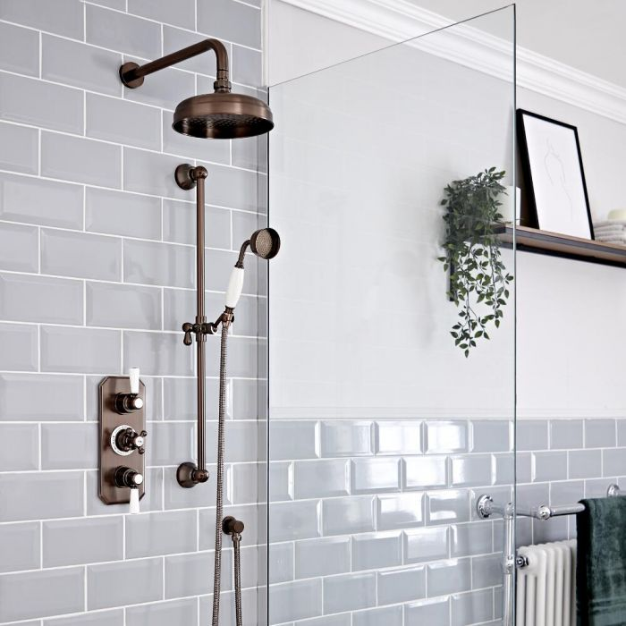 Milano Elizabeth - Oil Rubbed Bronze Traditional Thermostatic Shower with Riser Rail and Shower Head (2 Outlet)
