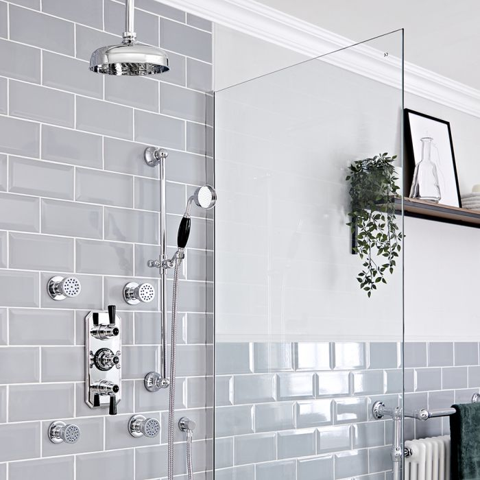 Milano Elizabeth - Chrome and Black Traditional Thermostatic Shower with Diverter, Ceiling Mounted Shower Head, Riser Rail and Body Jets (3 Outlet)