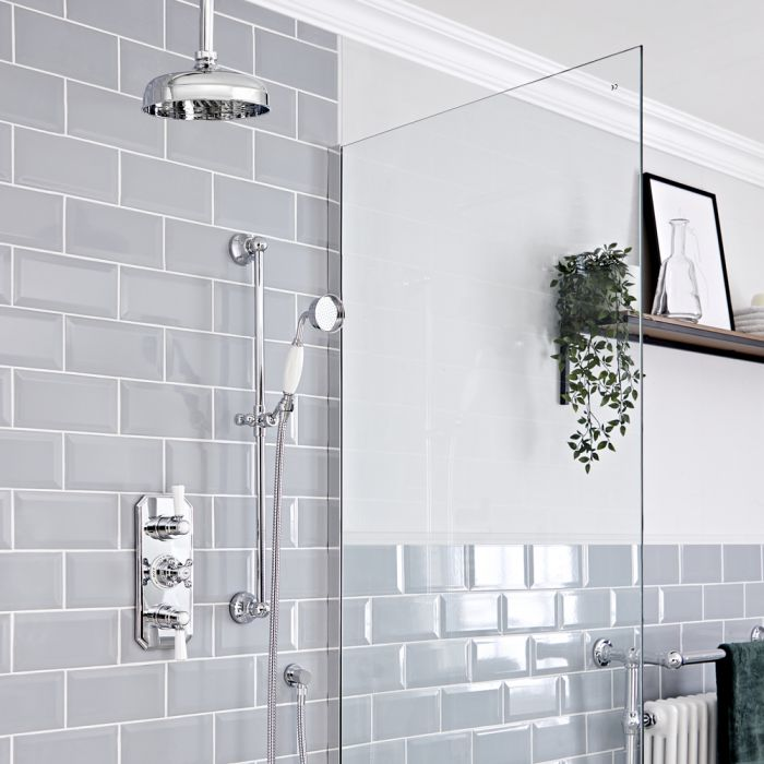 Milano Elizabeth - Chrome and White Traditional Thermostatic Shower with Ceiling Mounted Shower Head and Riser Rail (2 Outlet)