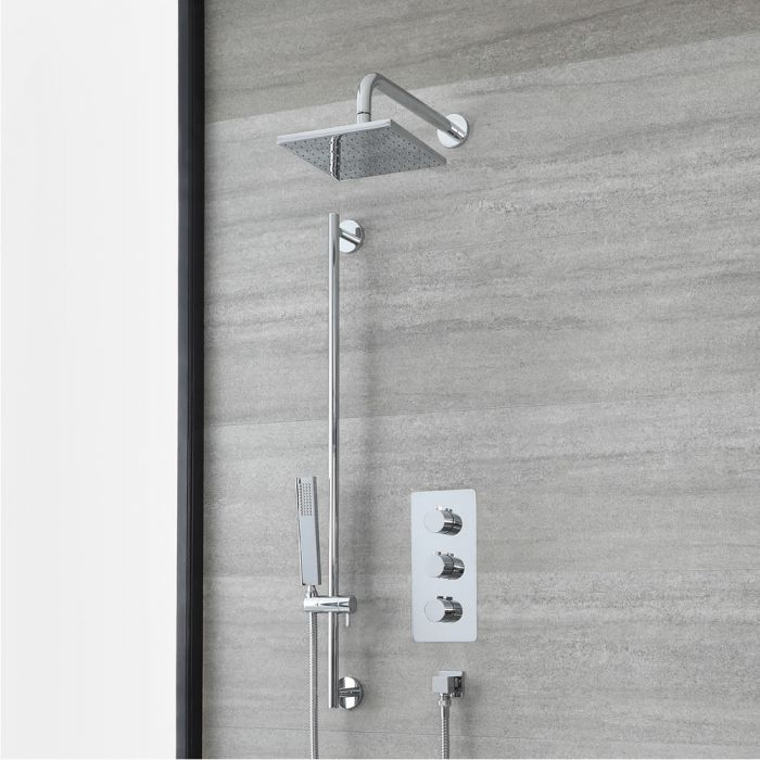 Milano Arcadia - Chrome Thermostatic Shower with Shower Head, Hand Shower and Riser Rail (2 Outlet)