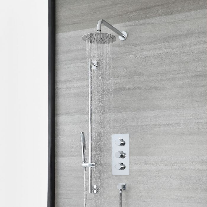 Milano Arcadia - Chrome Thermostatic Shower with Round Shower Head, Hand Shower and Riser Rail (2 Outlet)
