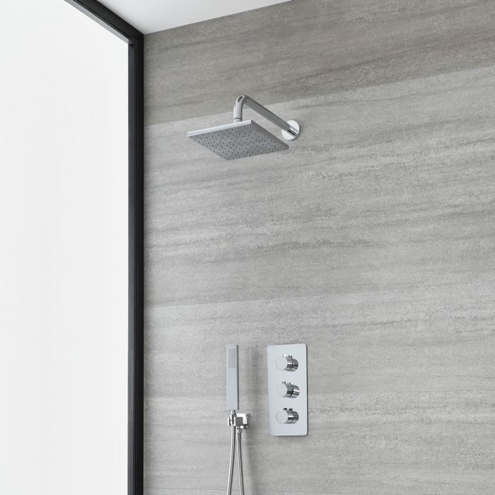 Milano Arcadia - Chrome Thermostatic Shower with Square Shower Head and Hand Shower (2 Outlet)
