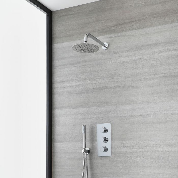 Milano Arcadia - Chrome Thermostatic Shower with Round Shower Head and Hand Shower (2 Outlet)