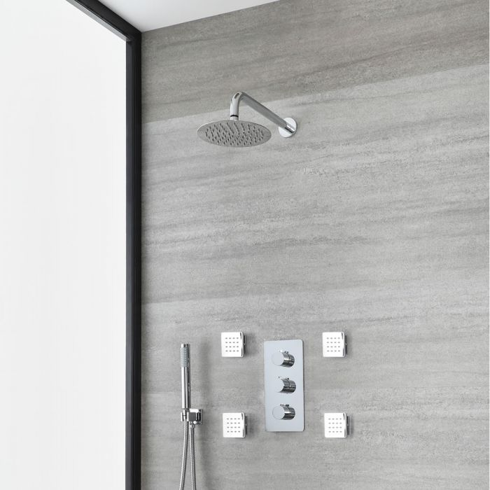 Milano Arcadia - Chrome Thermostatic Shower with Diverter, Round Shower Head, Hand Shower and Body Jets (3 Outlet)