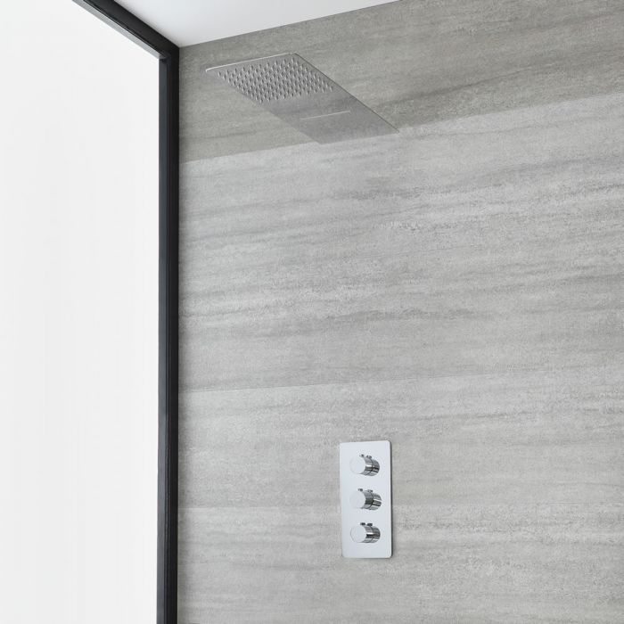 Milano Arcadia - Chrome Thermostatic Shower with Waterblade Shower Head (2 Outlet)