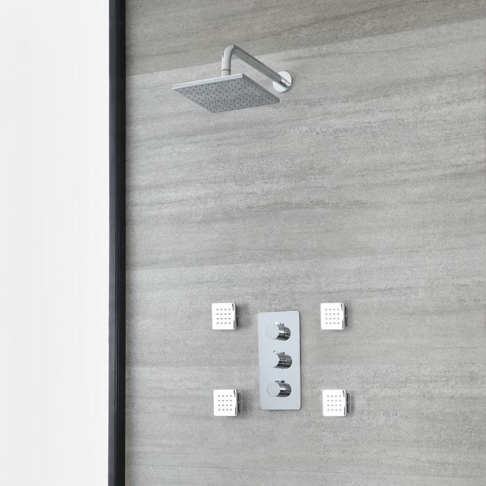 Milano Arcadia - Chrome Thermostatic Shower with Square Shower Head and Body Jets (2 Outlet)