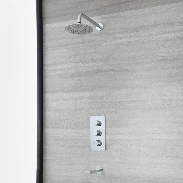 Milano Arcadia - Chrome Thermostatic Shower with Round Shower Head and Bath Spout (2 Outlet)