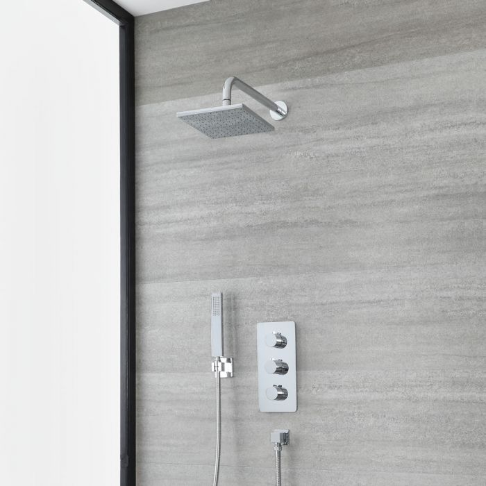 Milano Arcadia - Modern Chrome Thermostatic Shower with Square Shower Head and Hand Shower (2 Outlet)