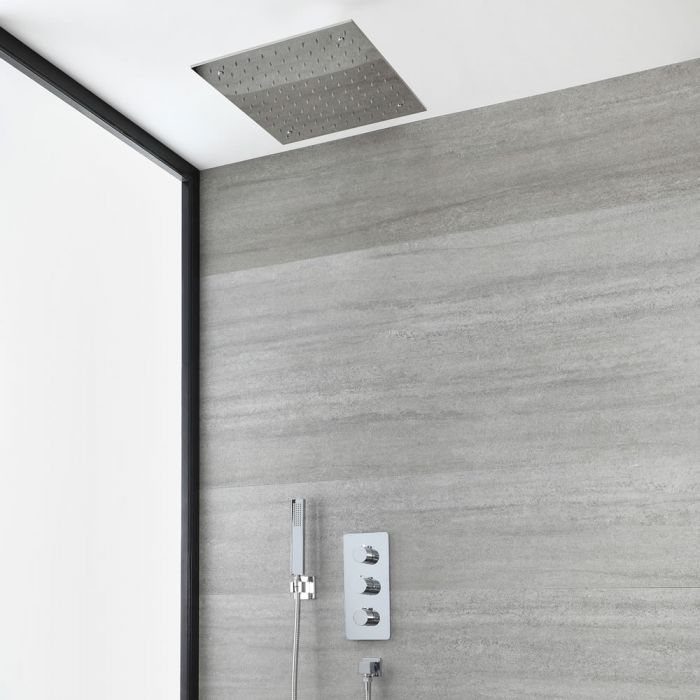 Milano Arcadia - Modern Chrome Thermostatic Shower with Recessed Shower Head and Hand Shower (2 Outlet)