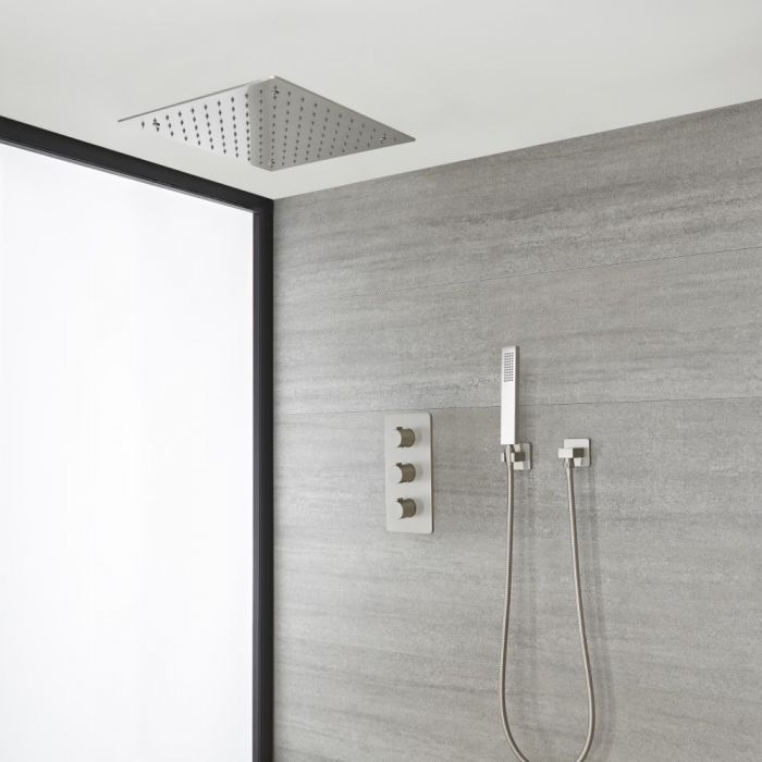 Milano Hunston - Brushed Nickel Thermostatic Shower with Recessed Shower Head and Hand Shower (2 Outlet)