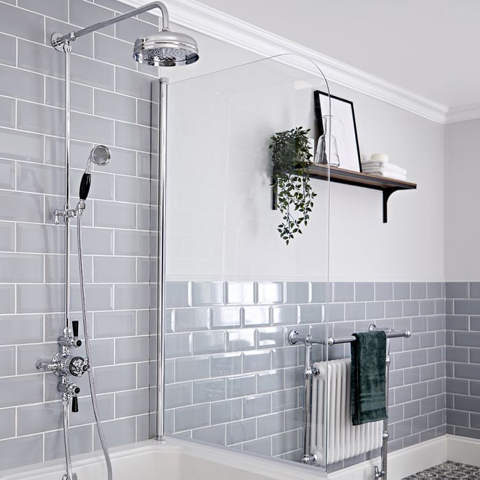 Milano Elizabeth - Chrome and Black Traditional Triple Exposed Thermostatic Shower with Grand Rigid Riser Rail (2 Outlet)