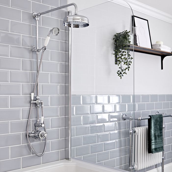 Milano Elizabeth - Chrome and White Traditional Twin Exposed Thermostatic Shower with Grand Rigid Riser Rail (2 Outlet)