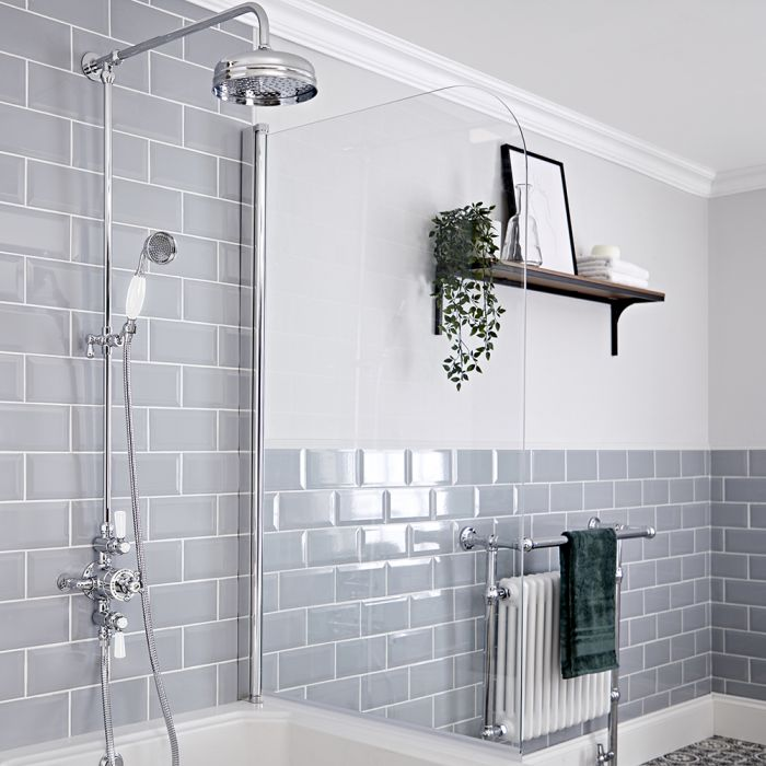 Milano Elizabeth - Chrome and White Traditional Triple Exposed Thermostatic Shower with Grand Rigid Riser Rail (2 Outlet)