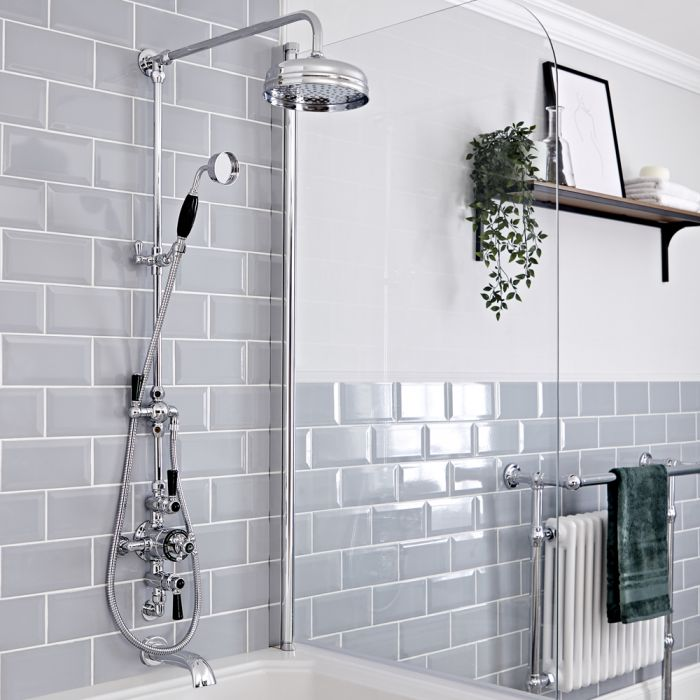 Milano Elizabeth - Chrome and Black Traditional Triple Exposed Thermostatic Shower with Grand Rigid Riser Rail and Wall Spout (3 Outlet)