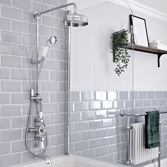 Milano Elizabeth - Chrome and White Traditional Triple Exposed Thermostatic Shower with Grand Rigid Riser Rail and Wall Spout (3 Outlet)
