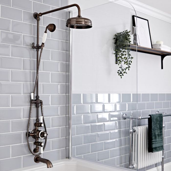 Milano Elizabeth - Oil Rubbed Bronze Traditional Triple Exposed Thermostatic Shower with Grand Rigid Riser Rail and Wall Spout (3 Outlet)