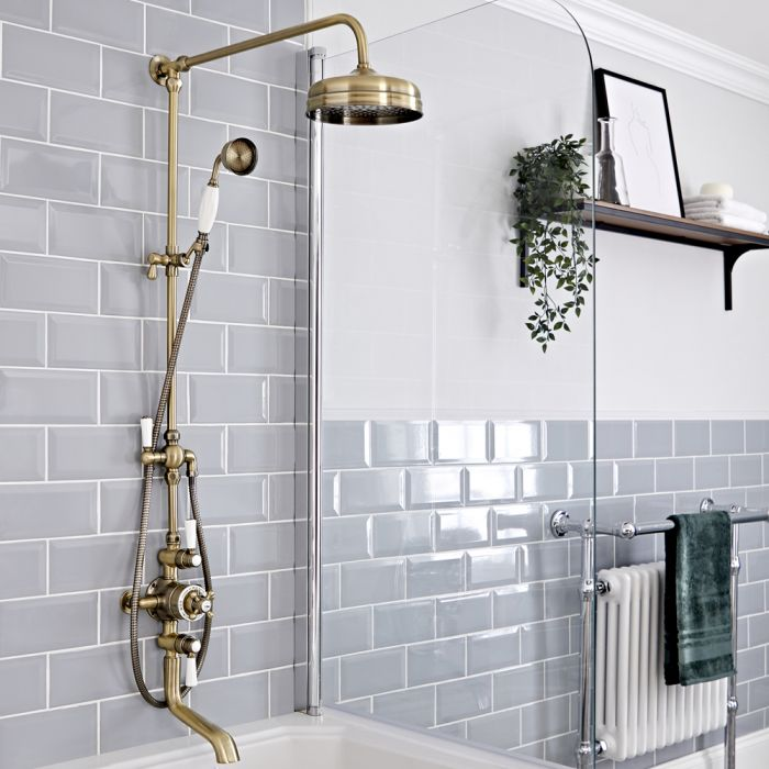 Milano Elizabeth - Brushed Gold Traditional Triple Exposed Thermostatic Shower with Grand Rigid Riser Rail and Bath Spout (3 Outlet)
