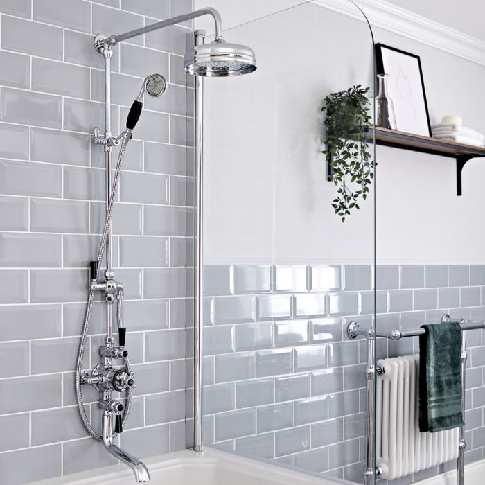 Milano Elizabeth - Chrome and Black Traditional Triple Exposed Thermostatic Shower with Grand Rigid Riser Rail and Bath Spout (3 Outlet)