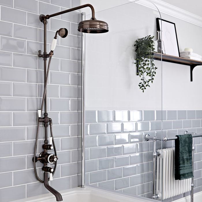 Milano Elizabeth - Oil Rubbed Bronze Traditional Triple Exposed Thermostatic Shower with Grand Rigid Riser Rail and Bath Spout (3 Outlet)