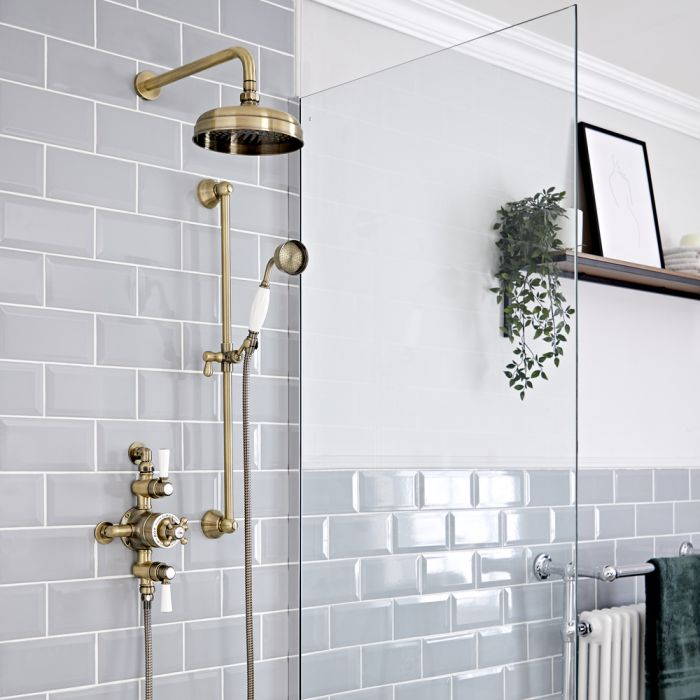 Milano Elizabeth - Brushed Gold Traditional Triple Exposed Thermostatic Shower with Shower Head and Riser Rail (2 Outlet)