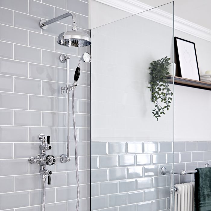 Milano Elizabeth - Chrome and Black Traditional Triple Exposed Thermostatic Shower with Shower Head and Riser Rail (2 Outlet)