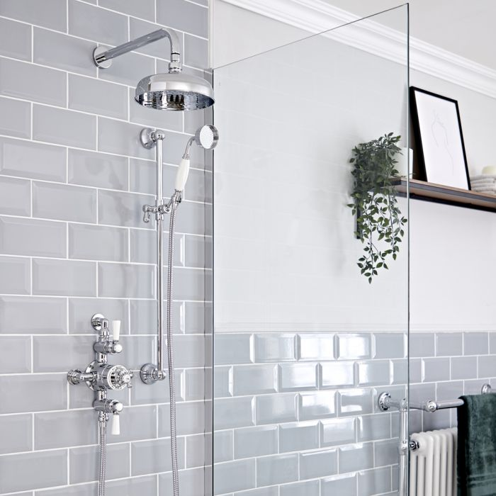 Milano Elizabeth - Chrome and White Traditional Triple Exposed Thermostatic Shower with Shower Head and Riser Rail (2 Outlet)