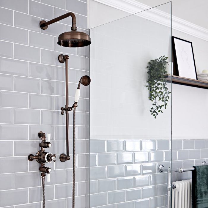 Milano Elizabeth - Oil Rubbed Bronze Traditional Triple Exposed Thermostatic Shower with Shower Head and Riser Rail (2 Outlet)