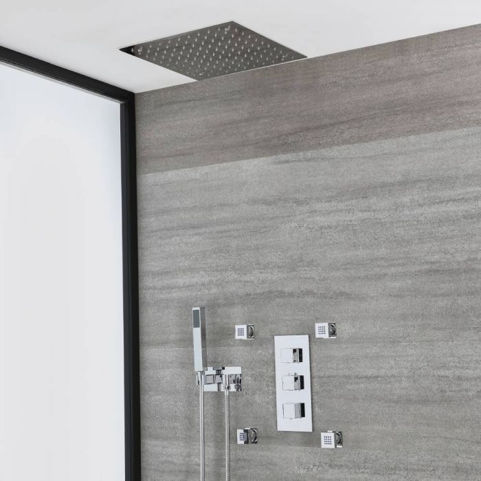 Milano Arvo - Chrome Thermostatic Shower with Diverter, Recessed Shower Head, Hand Shower with Holder and Body Jets (3 Outlet)