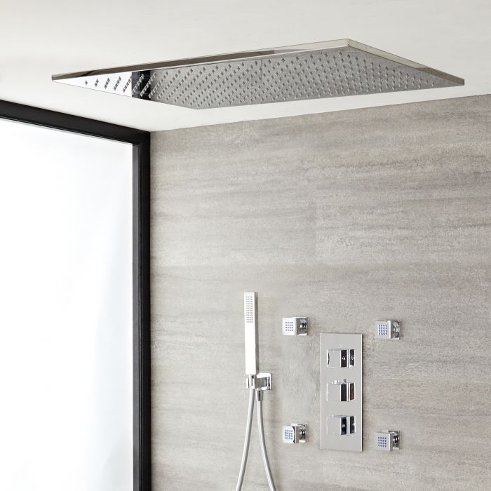 Milano Arvo - Chrome Thermostatic Shower with Diverter, Shower Head, Hand Shower and Body Jets (3 Outlet)