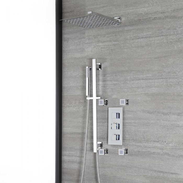 Milano Arvo - Chrome Thermostatic Shower with Diverter, Shower Head, Hand Shower, Riser Rail and Body Jets (3 Outlet)