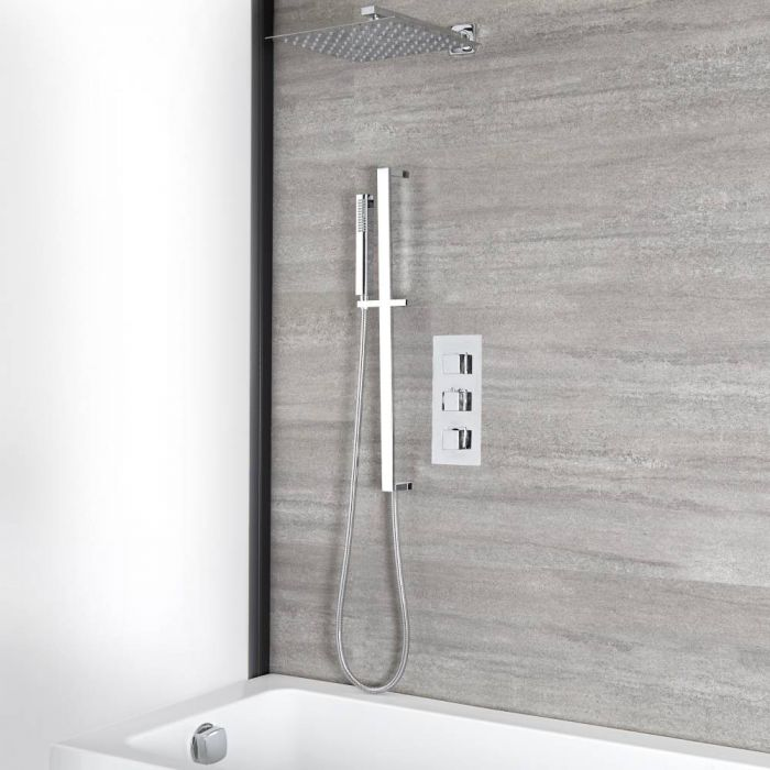 Milano Arvo - Chrome Thermostatic Shower with Diverter, Shower Head, Hand Shower, Overflow Bath Filler and Riser Rail (3 Outlet)