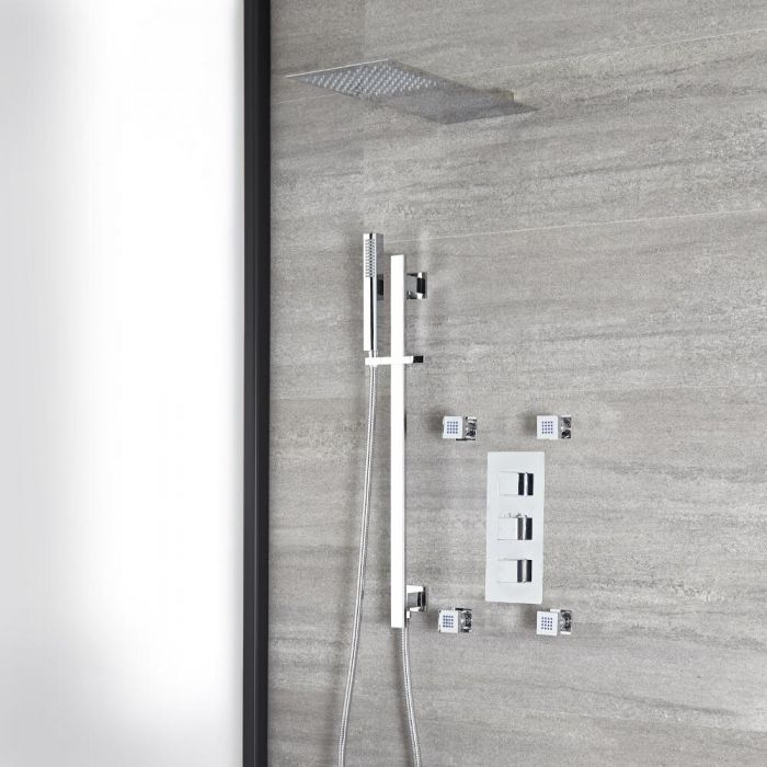 Milano Arvo - Chrome Thermostatic Shower with Diverter, Slim Shower Head, Hand Shower, Body Jets and Riser Rail (3 Outlet)