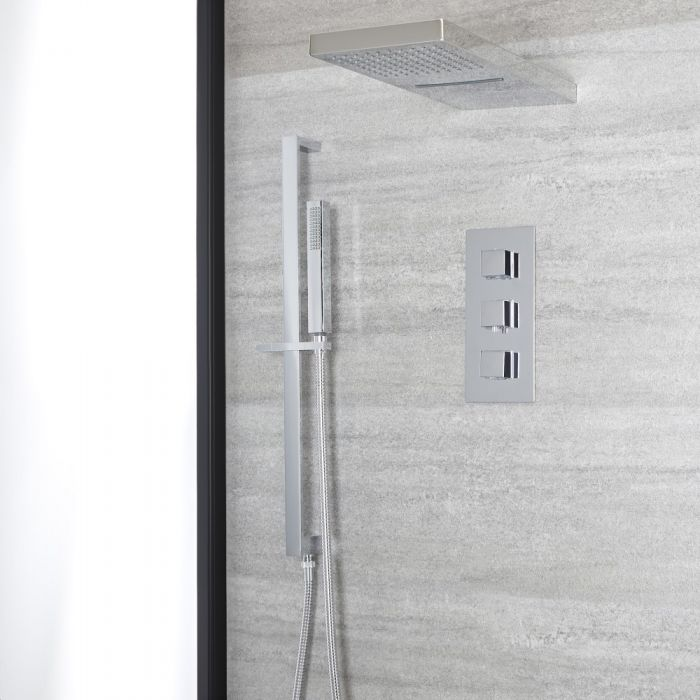 Milano Arvo - Chrome Thermostatic Shower with Diverter, Waterblade Shower Head, Hand Shower and Riser Rail (3 Outlet)