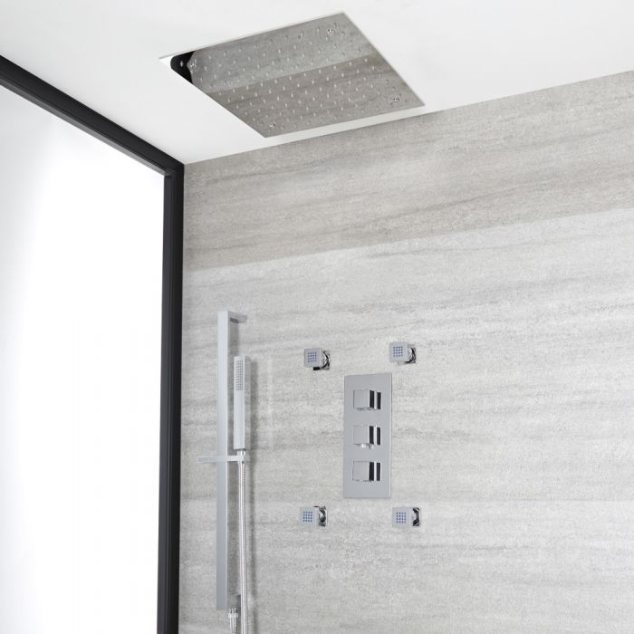 Milano Arvo - Chrome Thermostatic Shower with Diverter, Recessed Shower Head, Hand Shower, Body Jets and Riser Rail (3 Outlet)