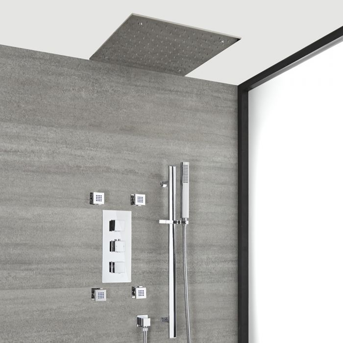 Milano Arvo - Chrome Thermostatic Shower with Diverter, Recessed Shower Head, Body Jets and Riser Rail with Hand Shower (3 Outlet)